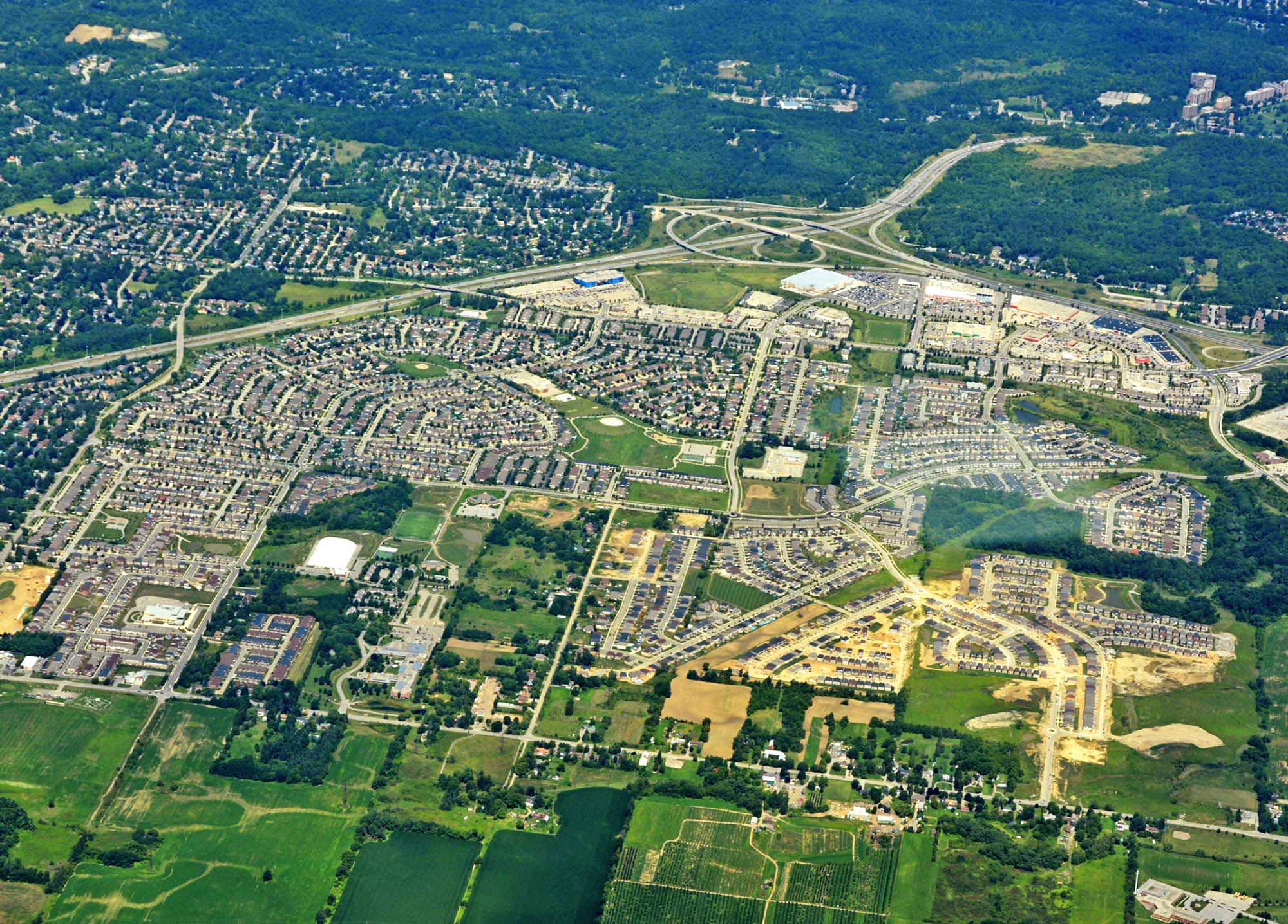 aerial view of the Ancaster Meadowlands, Hamilton Ontario Canada