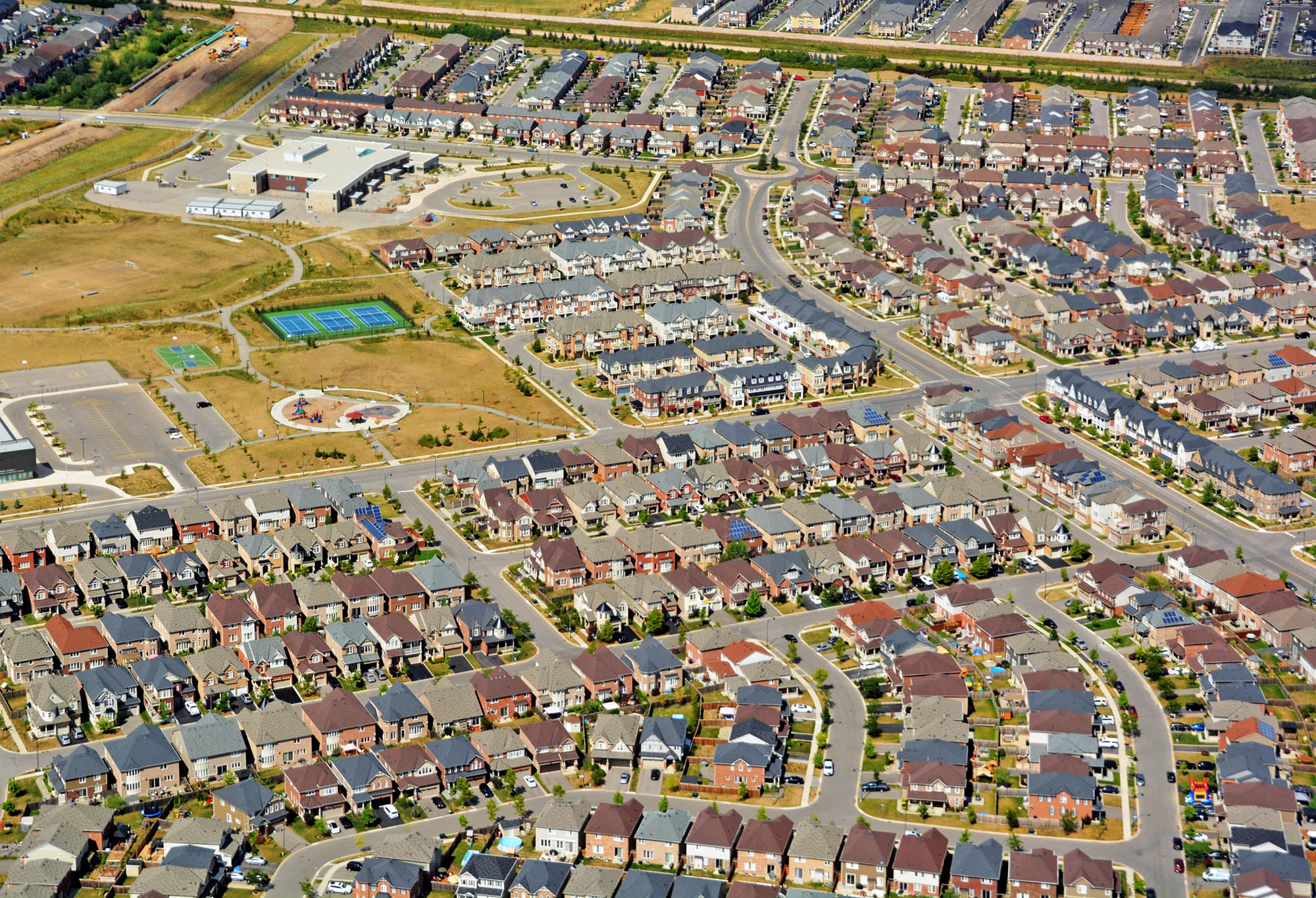 aerial view of a residential neighborhood in the town of Milton,