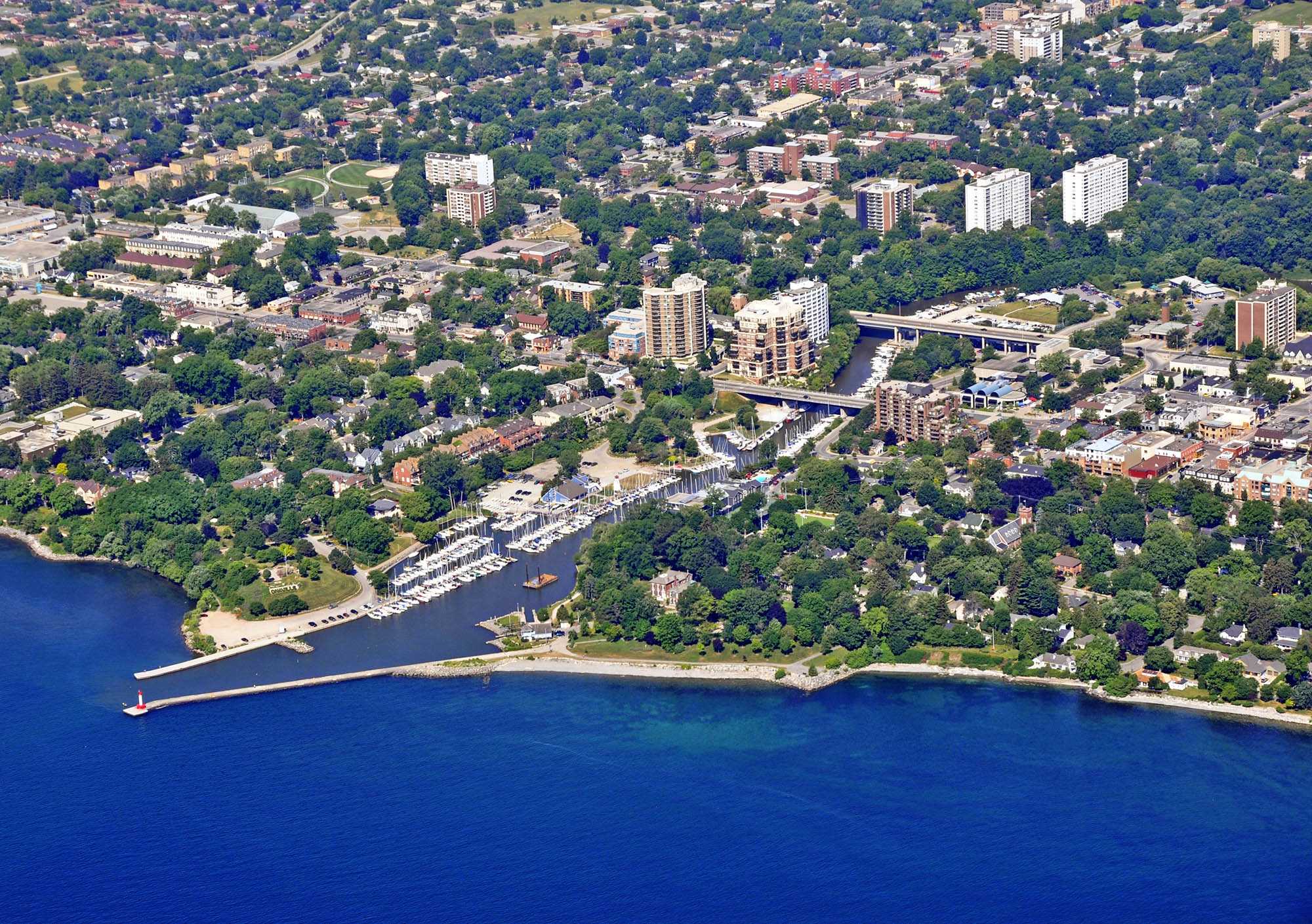 aerial view of the harbor in Oakville Ontario, Canada